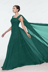 Dark green long prom dresses with watteau train