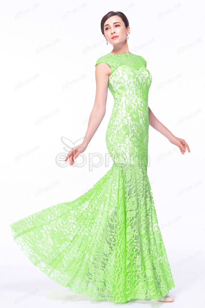 Lime green mermaid prom dresses with see through back