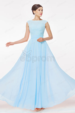 Blue long prom dresses cap sleeves