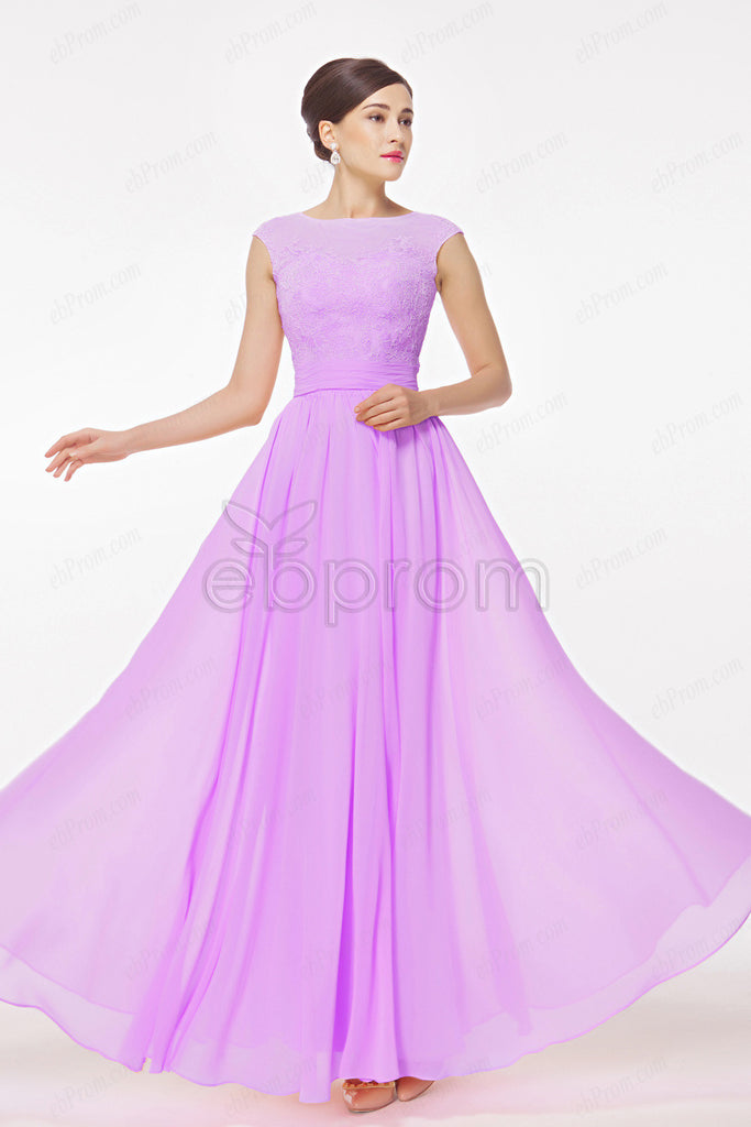 Orchid bridesmaid dresses Modest evening dresses