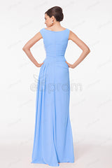 Ice blue modest beaded bridesmaid dresses maid of honor dresses