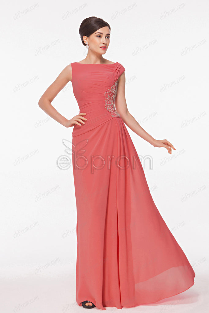 Modest coral mother of the bride dresses