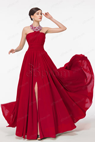 Beaded halter red prom dresses with slit