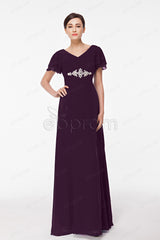 plus size eggplant mother of the bride dress with sleeves