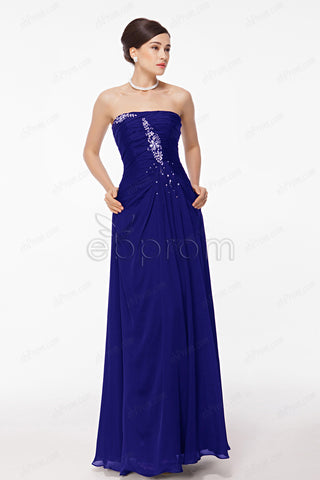 Royal blue mother of the bride dress with crystal