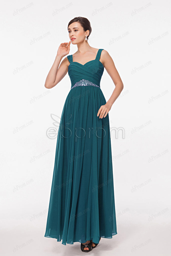 Teal evening dresses with straps – ebProm