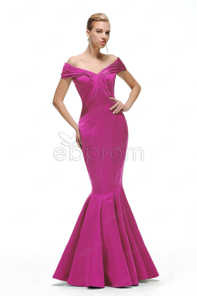 Hot pink off the shoulder prom dresses long – ebProm