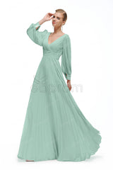 Dusty green boho prom dresses long sleeves