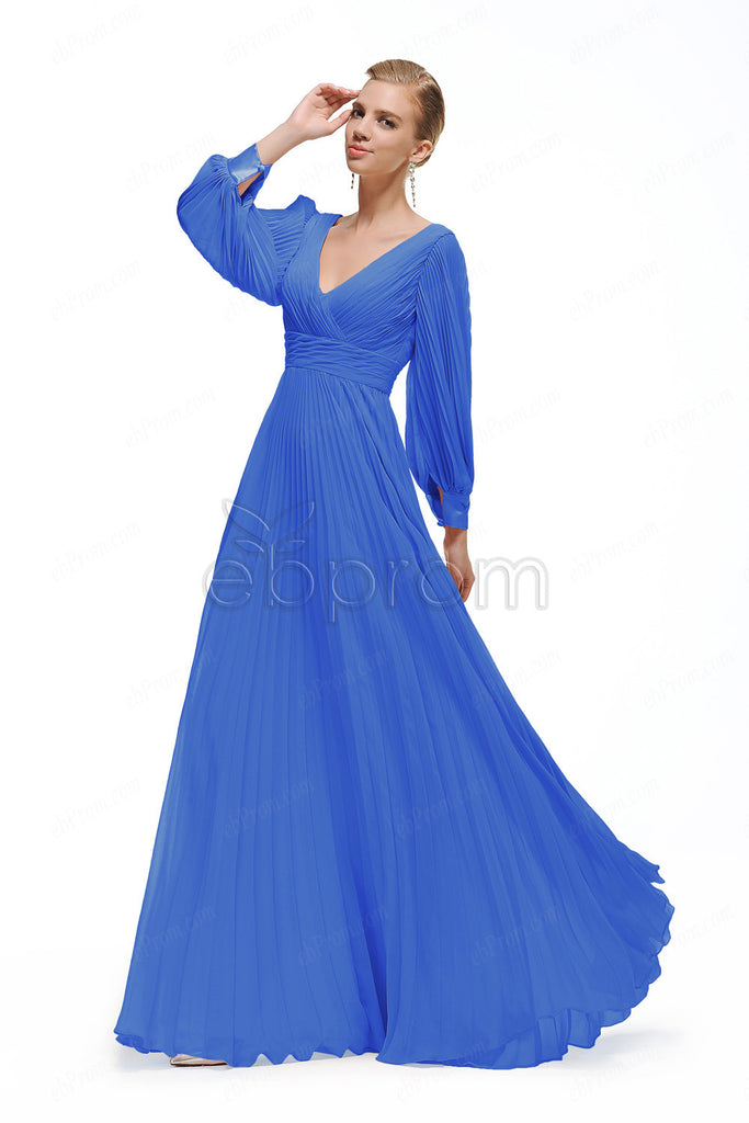 Modest Royal blue bridesmaid dresses long sleeves – ebProm