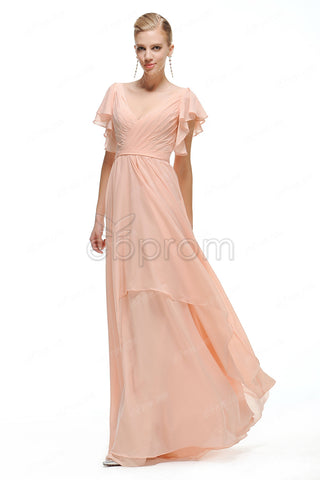 Modest peach bridesmaid dresses with sleeves