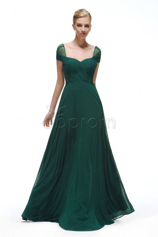 Forest green bridesmaid dresses cap sleeves