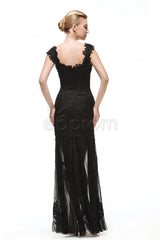 See through Sequins Black Lace Sparkly Prom Dresses