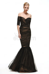 Off the shoulder mermaid black prom dress with sleeves evening dresses