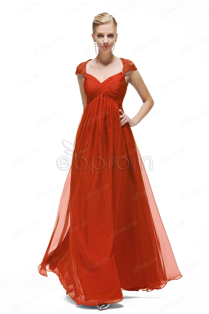 Red cap sleeves prom dress with empire waist