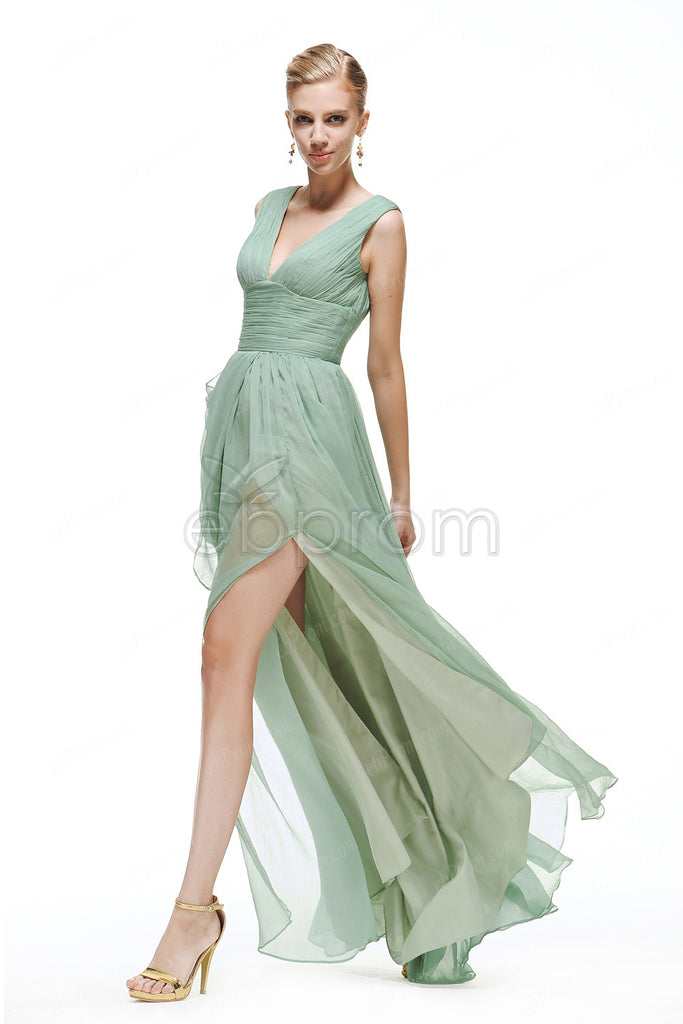 Light dusty green prom dresses with slit