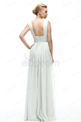 V Neck Chiffon beach wedding dresses with slit