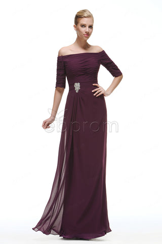 Plum mother o the bride dress with sleeves