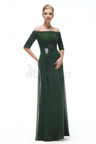Off the shoulder forest green bridesmaid dresses with sleeves