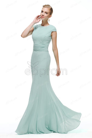 Modest Duck egg color bridesmaid dresses with clear crystals