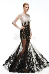 Mermaid sparkles Black and white prom dresses long sleeves
