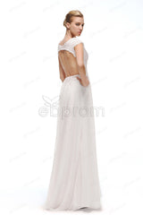 Backless chiffon beach wedding dresses cap sleeves
