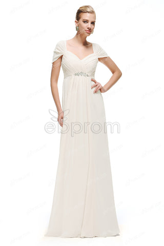 maternity beach wedding dresses empire waist cap sleeves