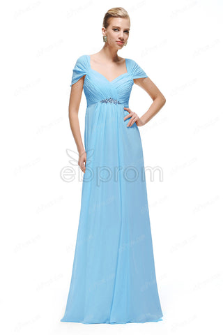 Sky blue maternity bridesmaid dresses capped sleeves