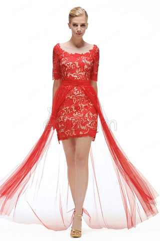 Red lace two piece prom dresses with sleeves