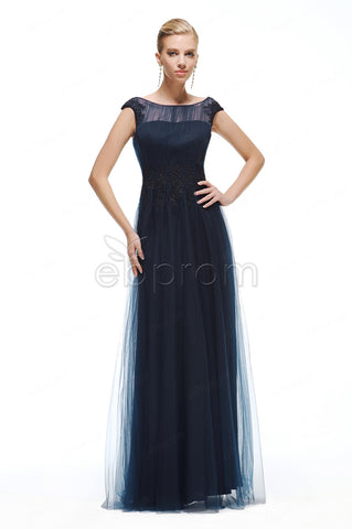 Modest Navy blue bridesmaid dresses with black lace