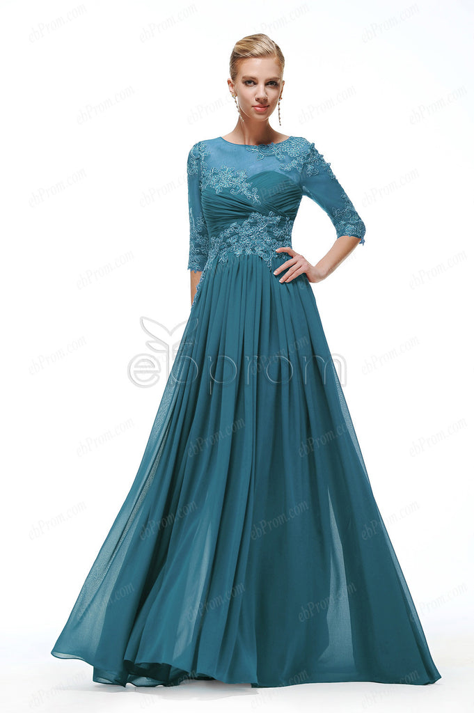 Teal modest formal dresses with sleeves