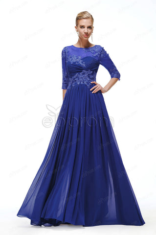 Royal blue mother of the groom dress with sleeves