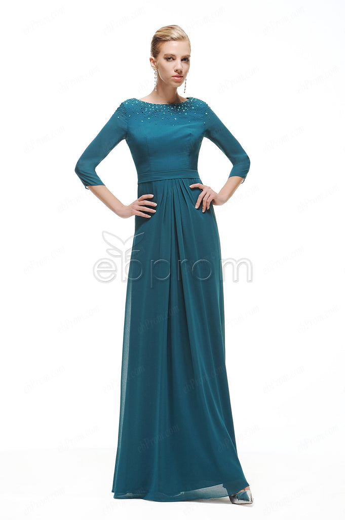 Modest long teal evening dresses with sleeves plus size – ebProm