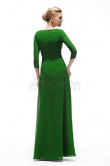 Modest emerald green mother of the bride dress with sleeves