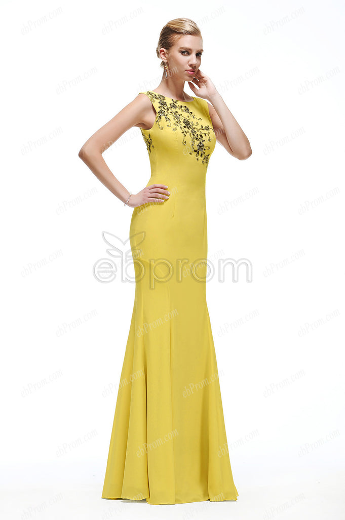 Yellow mermaid long prom dress with black lace