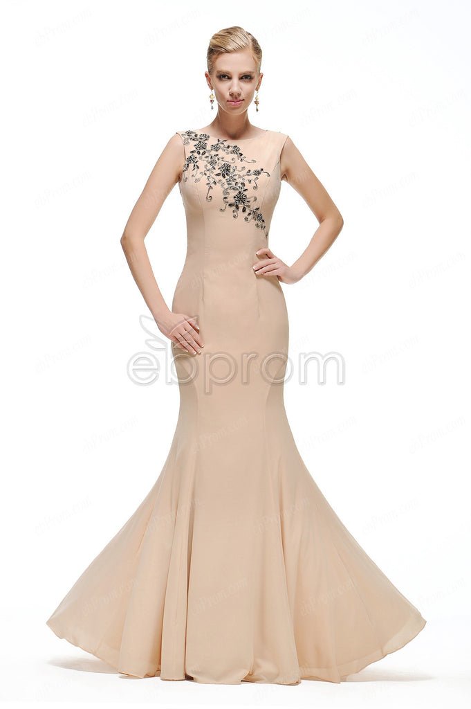 Mermaid Champagn evening dress with black lace