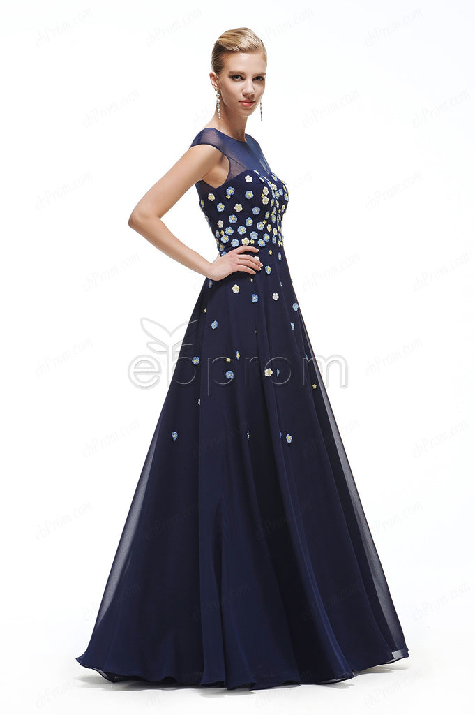 navy blue Floral prom dresses cap sleeves – ebProm