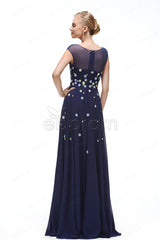 navy blue Floral prom dresses cap sleeves