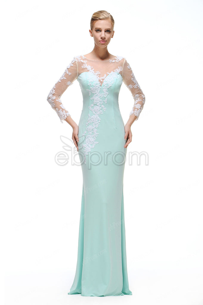 backless Mint green mermaid prom dresses long sleeves evening ...