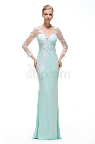 backless Mint green mermaid prom dresses long sleeves evening dresses