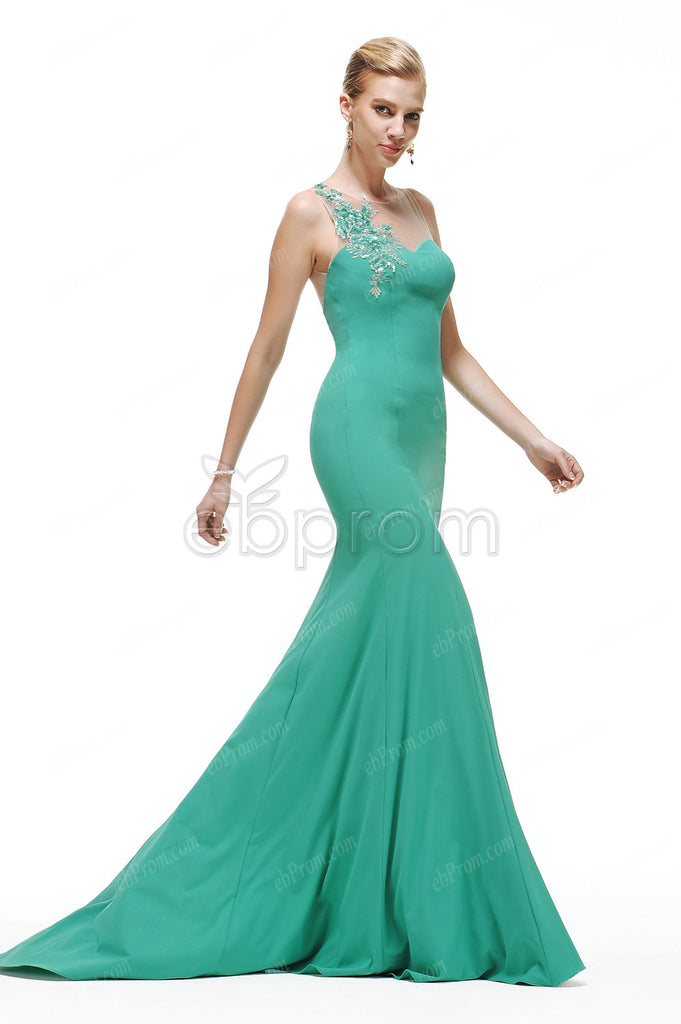Sequins Green mermaid backless prom dresses pageant dresses