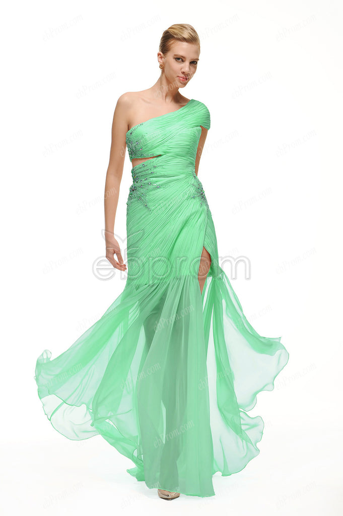 One shoulder Green long beaded prom dresses with slit