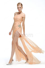 Peach crystals beaded out out prom dresses with slit
