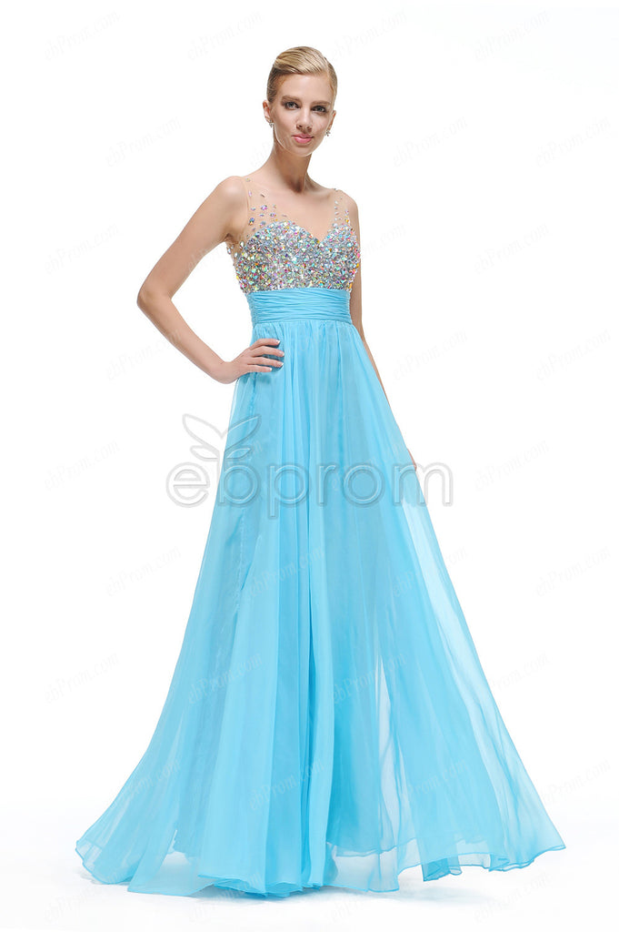 Sky blue crystal sparkly prom dresses Pageant dresses