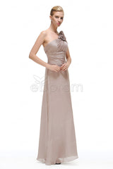 one shoulder Grey bridesmaid dresses