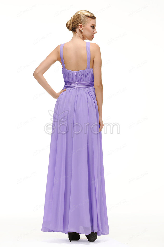 Lavender long prom dress empire waist