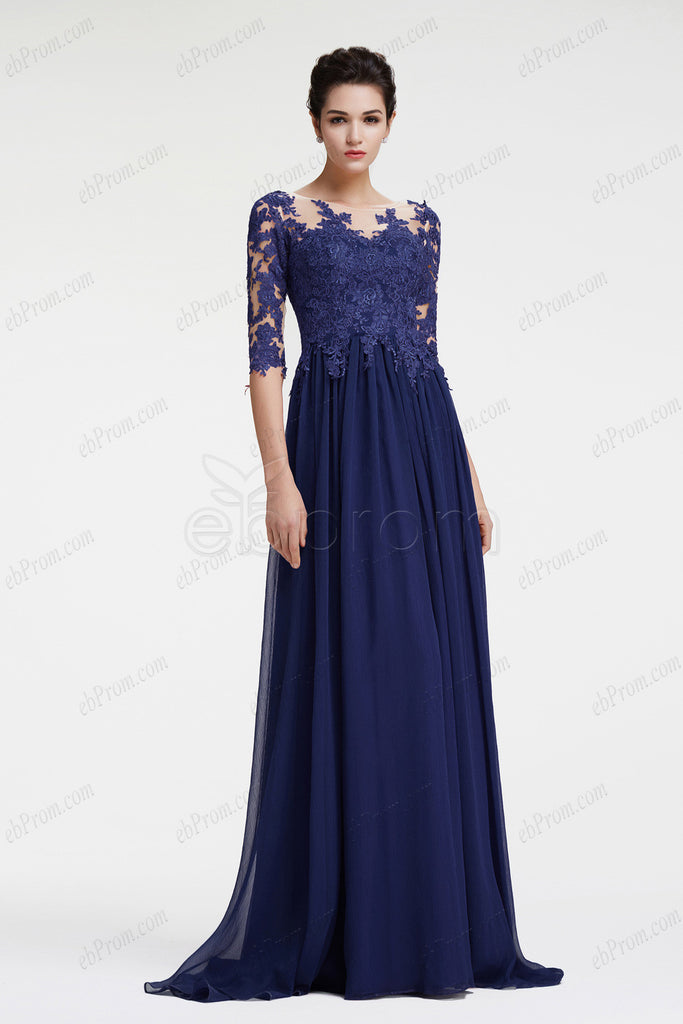 Navy Blue Mother Of The Bride Dress With Sleeves Plus Size Formal
