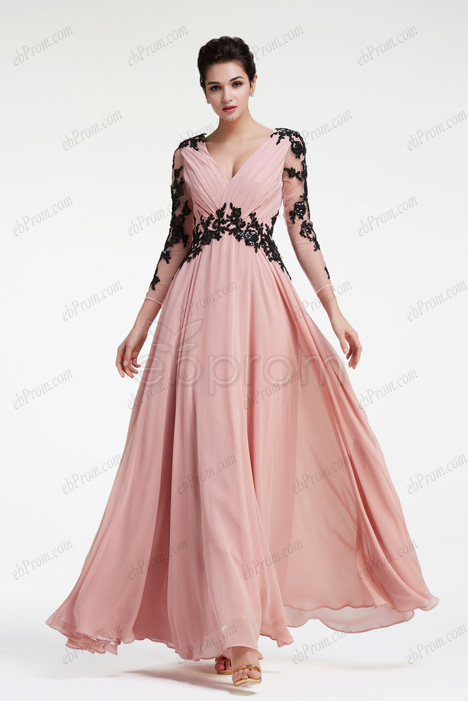 Dusty pink evening dresses long sleeves prom dress with black lace ...