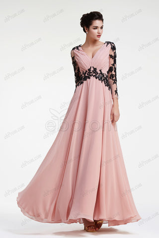 Dusty pink evening dresses long sleeves prom dress with black lace