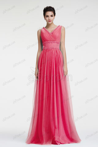 Coral Formal dresses plus size evening dresses V Neckline