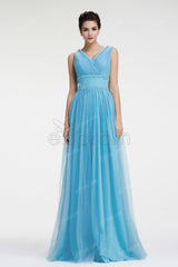 V Neck Blue beaded long prom dresses